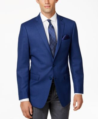 Calvin Klein Men's Blue and Black Tic Slim-Fit Sport Coat