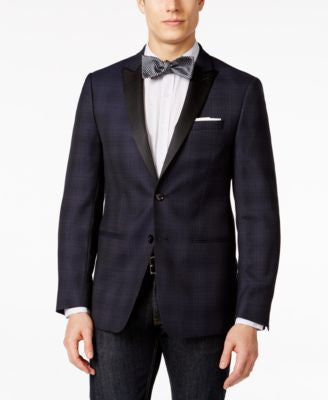Calvin Klein Men's Navy Plaid Peak Lapel Slim Fit Dinner Jacket
