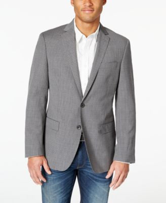DKNY Men's Light Grey Checked Extra Slim-Fit Sport Coat