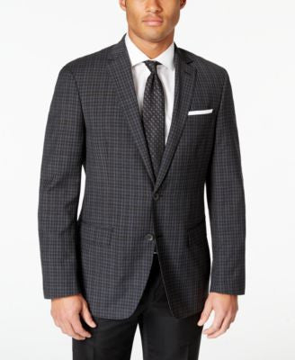 DKNY Men's Charcoal Box Check Extra Slim-Fit Sport Coat