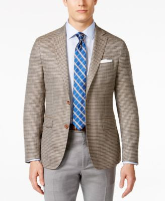 Lauren Ralph Lauren Men's Tan and Brown Checked Classic Fit Sport Coat