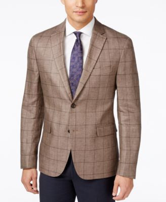Lauren Ralph Lauren Men's Brown Windowpane Classic-Fit Sport Coat