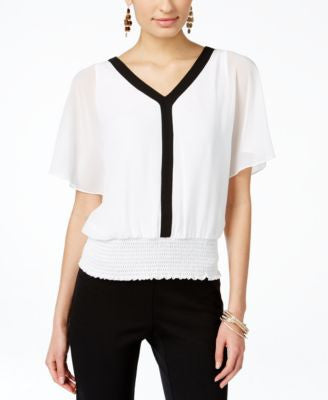 Thalia Sodi Smocked Flutter-Sleeve Chiffon Top, Only at Vogily