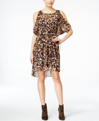 Thalia Sodi Animal-Print Cold-Shoulder Blouson Dress, Only at Vogily
