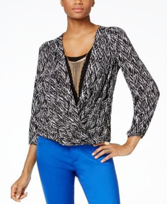 Thalia Sodi Printed Faux-Wrap Blouson Top, Only at Vogily