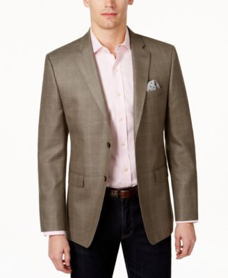 Lauren Ralph Lauren Men's Slim-Fit Olive Windowpane Sport Coat