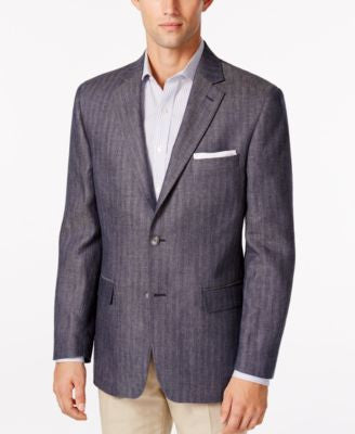 Tasso Elba Men's Blue Herringbone Classic Fit Sport Coat, Only at Vogily