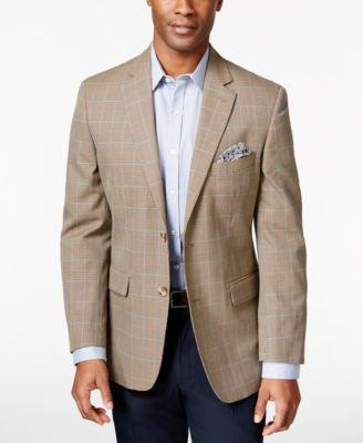 Tasso Elba Men's Khaki Houndstooth Classic-Fit Sport Coat, Only at Vogily