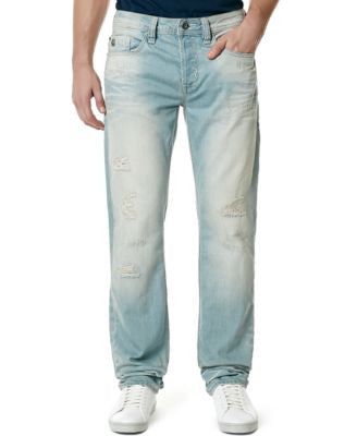 Buffalo David Bitton Men's Evan Slim-Fit Blasted Light Wash Jeans