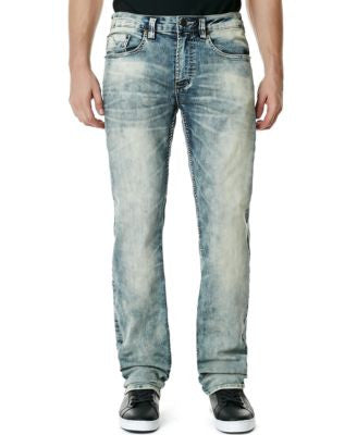 Buffalo David Bitton Men's Stretch Six-X Slim-Straight-Fit Blasted Vintage Marble Wash Jeans