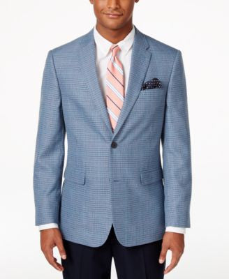 Tommy Hilfiger Men's Classic-Fit Blue Houndstooth Sport Coat