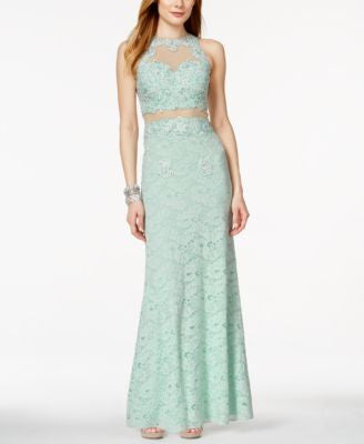 Betsy & Adam Sleeveless Lace Illusion Gown
