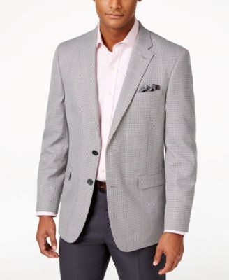 Tommy Hilfiger Men's Classic-Fit Black and White Houndstooth Sport Coat
