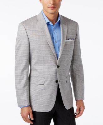 Vince Camuto Men's Slim-Fit Grey and Tan Box-Check Sport Coat