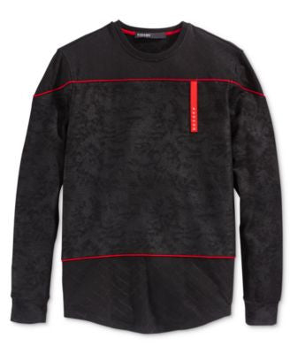 Hudson NYC Men's Red Line Quilted French Terry Long-Sleeve T-Shirt