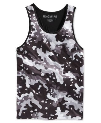 Ring of Fire Men's Black And White Camouflage-Print Tank