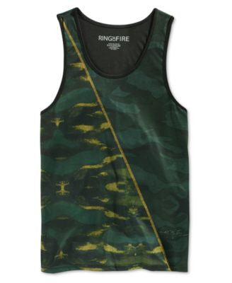 Ring of Fire Men's Green Camouflage-Print Tank