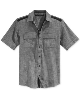 Sean John Men's Solid Twill Short-Sleeve Shirt