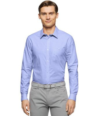 Calvin Klein Men's Regular-Fit Cool Tech Dobby Check Ombre Dress Shirt