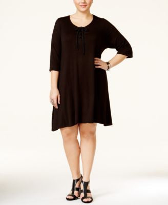 American Rag Plus Size Lace-Up Shift Dress, Only at Vogily