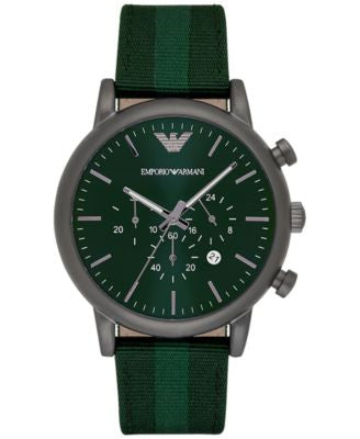 Emporio Armani Men's Chronograph Luigi Green Leather Backed Nylon Strap Watch 46mm AR1950