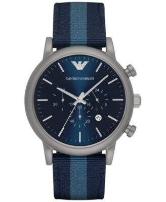Emporio Armani Men's Chronograph Luigi Blue Leather Backed Nylon Strap Watch 46mm AR1949