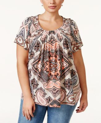Style & Co. Plus Size Printed Pleat-Neck Top, Only at Vogily