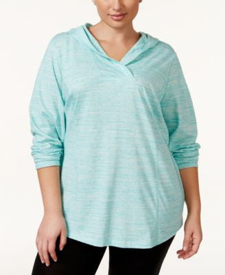 Style & Co. Sport Plus Size Space-Dyed Pullover Hoodie, Only at Vogily