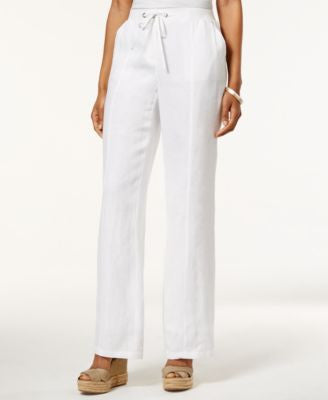 JM Collection Drawstring-Waist Linen Pants, Only at Vogily