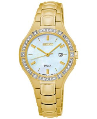 Seiko Women's Solar Sport Gold-Tone Stainless Steel Bracelet Watch 29mm SUT284