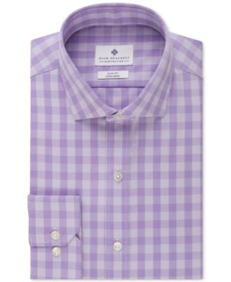Ryan Seacrest Distinction Men's Slim-Fit Non-Iron Purple Tonal Gingham Dress Shirt
