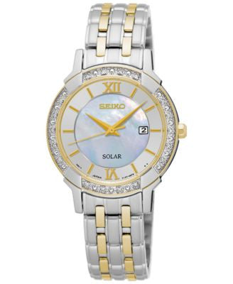 Seiko Women's Solar Sport Diamond Accent Two-Tone Stainless Steel Bracelet Watch 29mm SUT278