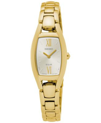 Seiko Women's Solar Sport Gold-Tone Stainless Steel Bracelet Watch 18mm SUP320