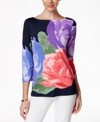Charter Club Petite Floral-Print Bateau-Neck Top, Only at Vogily