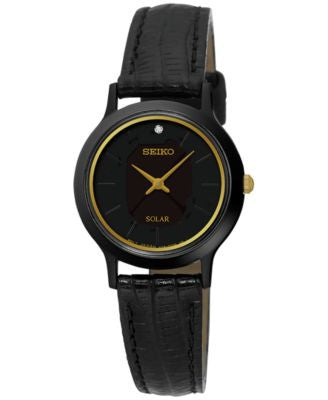 Seiko Women's Solar Dress Black Leather Strap Watch 26mm SUP315