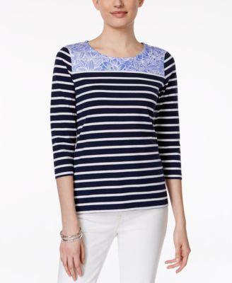 Charter Club Contrast-Trim Striped Pullover Top, Only at Vogily
