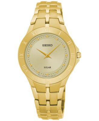 Seiko Women's Solar Recraft Series Gold-Tone Stainless Steel Bracelet Watch 30mm SUP310