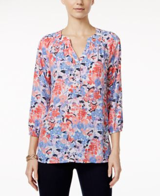 Charter Club Floral-Print Henley Blouse, Only at Vogily