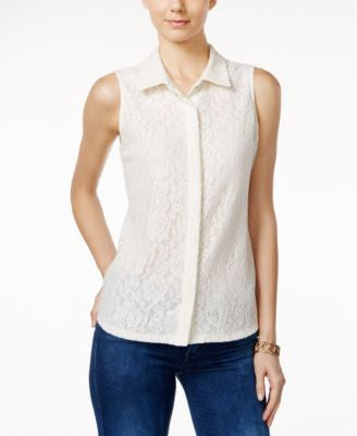Charter Club Lace Sleeveless Shirt, Only at Vogily