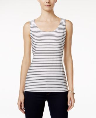 Charter Club Textured Striped Tank Top, Only at Vogily