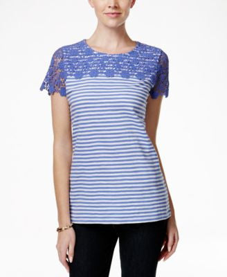 Charter Club Striped Lace-Yoke Tee, Only at Vogily