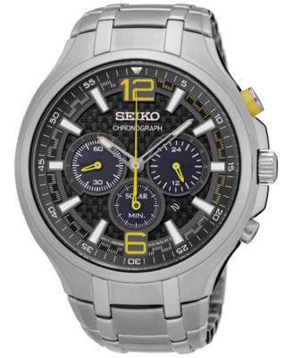 Seiko Men's Solar Chronograph Recraft Series Stainless Steel Bracelet Watch 45mm SSC449