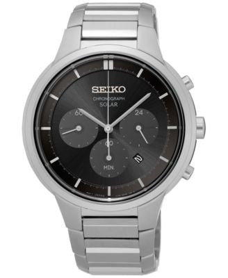 Seiko Men's Solar Chronograph Stainless Steel Bracelet Watch 42mm SSC439