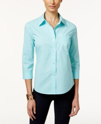 Karen Scott Gingham Button-Front Shirt, Only at Vogily