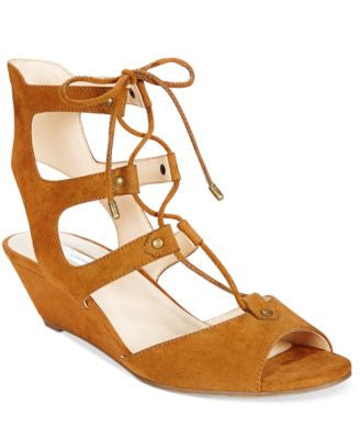 INC International Concepts Mandie Lace-Up Wedge Gladiator Sandals, Only at Vogily