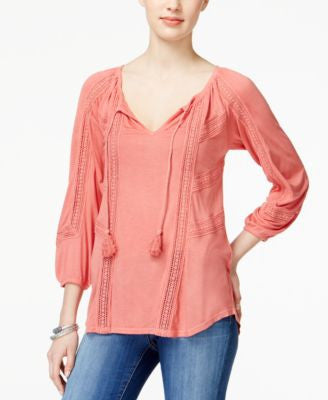 Lucky Brand Crochet-Detail Peasant Top