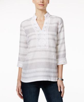 Charter Club Striped Crochet-Trim Linen Tunic, Only at Vogily