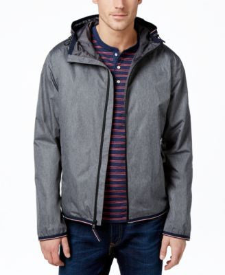 Tommy Hilfiger Men's Full-Zip Hooded Raincoat