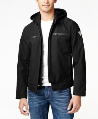 GUESS Men's Detachable-Hood Full-Zip Motorcycle Jacket
