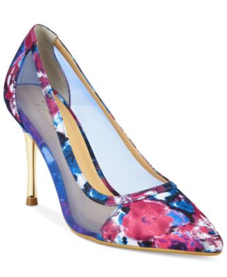 Thalia Sodi Natalia Mesh Pointed-Toe Floral Pumps, Only at Vogily